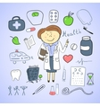 Health icons doodle ilustration woman doctor vector image