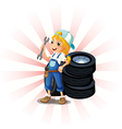 A female mechanic in front of the tires vector image