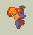 africa map outline cartoon lion animal concept vector image