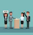 background scene set people in formal suit vote in vector image vector image