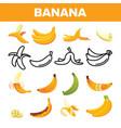 banana friut icon set yellow food symbol vector image