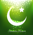Beautiful bright moons and stars on green vector image vector image