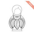 black line nesting doll with floral ornament vector image vector image