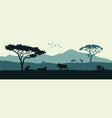 black silhouette animals african savannah vector image vector image
