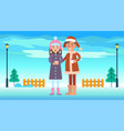 boy and girl in winter park vector image vector image