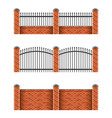 brick fences set isolated on white vector image vector image