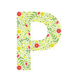 capital letter p green floral alphabet element vector image