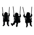 child on the swing is having fun black silhouette vector image vector image