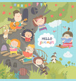 children playing and having fun in treehouse vector image