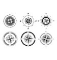 collection logos compass stylized sea vector image