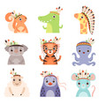 cute animals wearing headdress with feathers vector image vector image