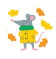 cute rat in yellow raincoat vector image vector image