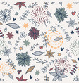 cute seamless floral pattern with flowers leaves vector image vector image