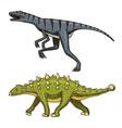 dinosaur ankylosaurus talarurus velociraptor vector image