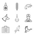 doctor for animal icons set outline style vector image vector image