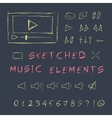 Doodle hand drawn music elements set sketch vector image vector image