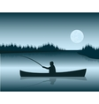 Fisherman in boat vector image