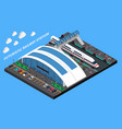 futuristic railway station isometric composition vector image vector image