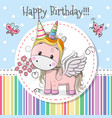 greeting card cute unicorn vector image