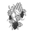 hand braided with grapevine engraving vector image