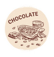 hand drawing chocolate emblem vector image vector image