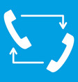 handsets with arrows icon white vector image vector image