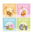 happy birthday animals cards vector image