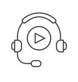 headphone and play button technology and vector image