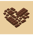 Heart Dark Chocolate Bar Valentines Day vector image vector image
