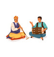 indian street musicians playing shehnai and dholak vector image