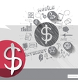 Paper and hand drawn dollar emblem with icons vector image vector image