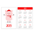 pig in red winter hat and scarf simple pocket vector image