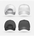 realistic black and white sport caps isolated on vector image vector image