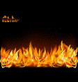 realistic fire flames on black background vector image