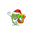 santa with gift fresh lime cartoon character for vector image vector image
