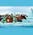 scene with wooden cottage on ice vector image vector image