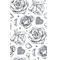 seamless pattern with hand drawn vintage valentine vector image vector image