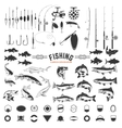 set of Fishing labels design elements Rods and vector image vector image