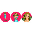 set of womens pop art round vector image