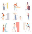 set with people painting wall men women and vector image