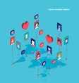 social network concept modern flat isometric vector image