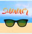 summer poster with lettering and beach vector image