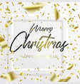 the lettering christmas and falling gold confetti vector image vector image