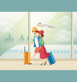 traveling couple of young people man and woman vector image vector image