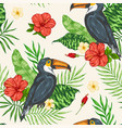 tropical seamless pattern with toucan vector image