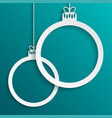 two white frame circles christmas tree toy vector image vector image