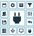 user icons set with plug archive undo and other vector image vector image