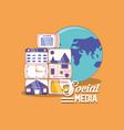 world map social media digital internet vector image