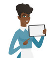 young african cleaner holding tablet computer vector image vector image