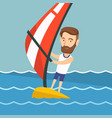 young man windsurfing in the sea vector image vector image